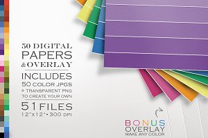 51 Piece Ombre Digital Paper Pack