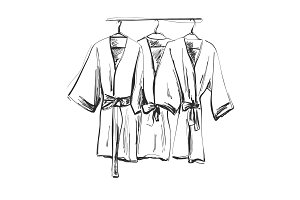 Robe for the shower, bathrobe, doodle style, sketch illustration.