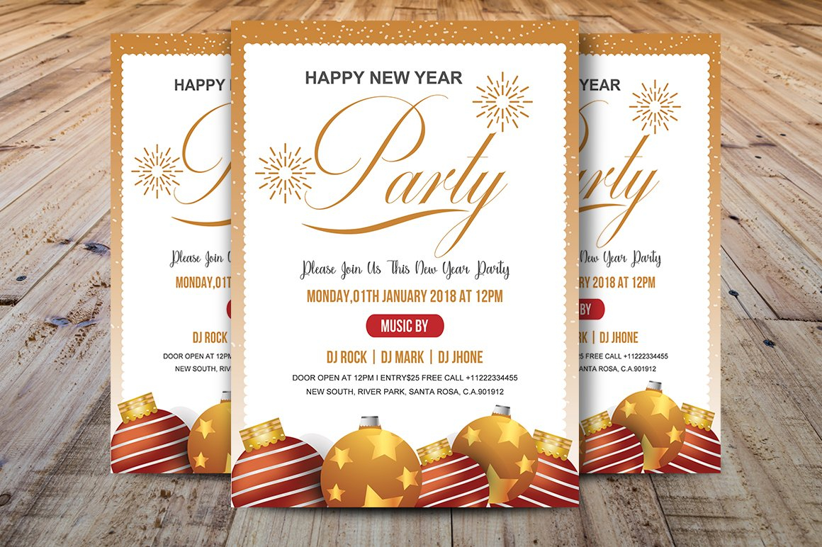 Happy New Year Party ~ Flyer Templates ~ Creative Market