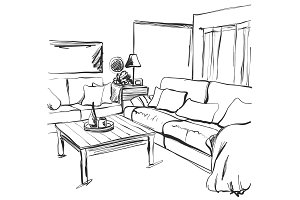Hand drawn room interior sketch. Chair, sofa, table, flowerpot