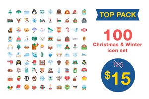100 christmas & winter icon pack