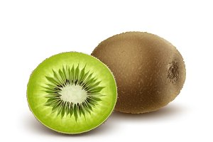 Whole and half cut kiwi