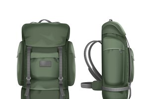 Big green travel backpack