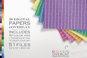 51 Piece Chevron Lines Paper Pack
