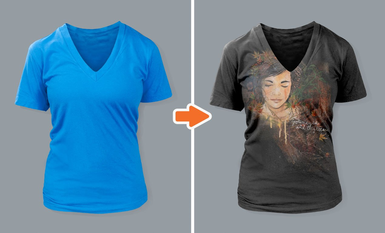 Ladies Deep V-Neck T-Shirt Mockups ~ Product Mockups ~ Creative Market