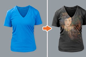 Ladies Deep V-Neck T-Shirt Mockups