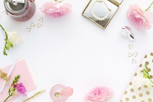 Styled photo - light pink desk scene