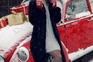 girl in red cap in winter