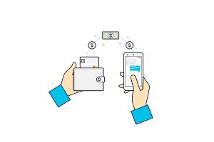 People sending and receiving money, payments using smartphone.Flat line vector icon concept