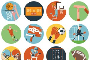 Team sport flat icons set