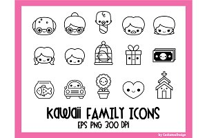 Kawaii family icons