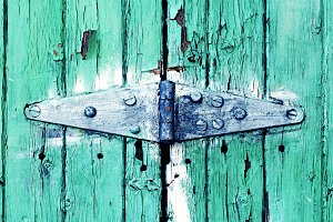 Teal Door / Blue Hinge