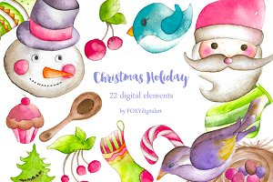 Watercolor Christmas Clipart Santa