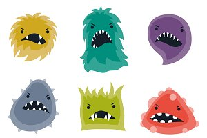 Set of little angry viruses.