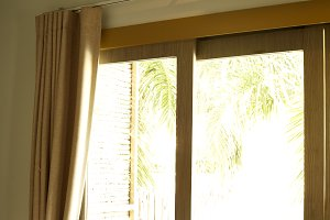 Window with beautiful curtains indoo