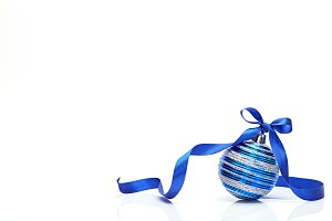 Blue Christmas ball with ribbon bow
