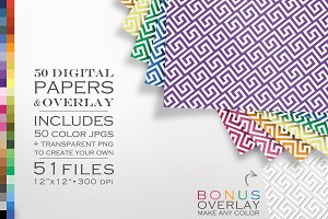 51 Piece Greek Key Digital Paper Kit