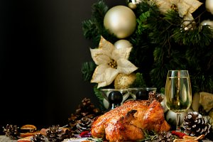 Baked turkey or chiken or Christmas or New Year Thanksgiving Day space for text