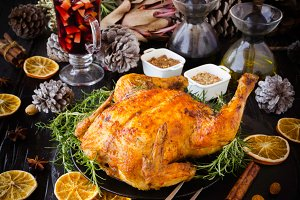 Baked turkey for Christmas or New Year Thanksgiving Day selective focus