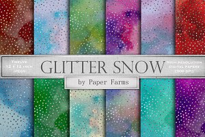 Glitter snow digital paper