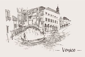 Set of sketches of Venice