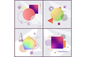 Posters with Abstraction Set Vector Illustration