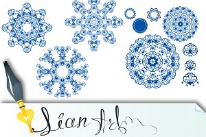 Set of  blue floral circle patterns.