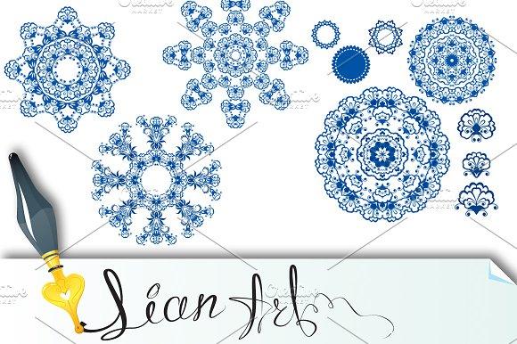 Set of  blue floral circle patterns.