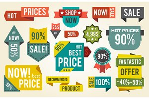 Hot Price Shop Set of Stickers Vector Illustration