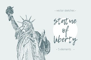 Set of sketches of Statue of Liberty