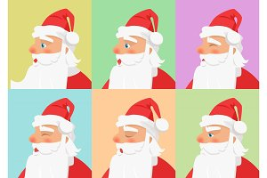 Shown Set of Different Emotions from Santa Claus