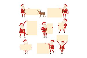 Santa with Empty Banner Isolated on White. Vector