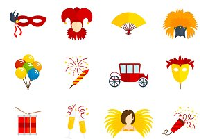 Carnival flat icons set
