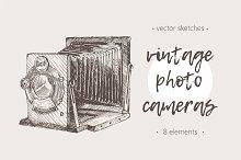 Set of illustrations of reto cameras