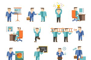 Businessman working flat icons set