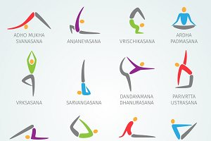 Yoga positions icons set