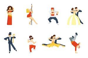 Dance icon flat set