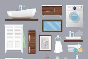 Bathroom furniture flat icons set
