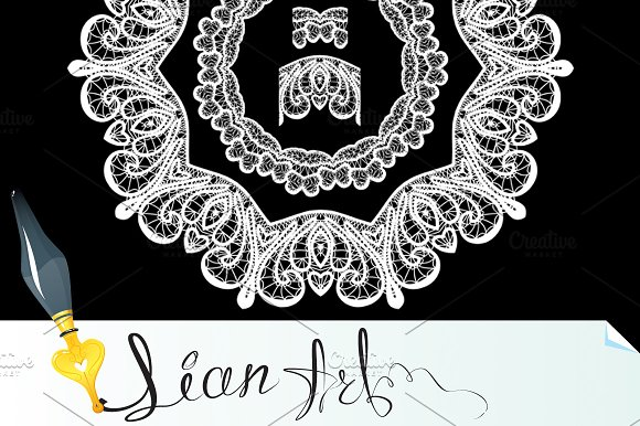 Round Frame - floral lace ornament