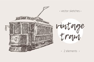 Two illustrations of vintage trams