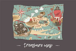 Island treasure map, Pirate map