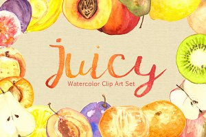 Watercolor Juicy Fruit Clip Art Set