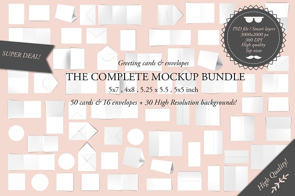 Greeting cards complete bundle product mockups creative market m4hsunfo