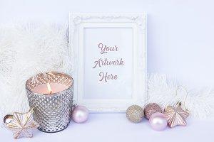 Pink & White Christmas Frame Mockup
