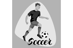 Soccer player with ball. Sports football illustration