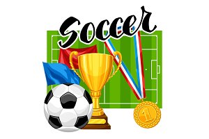 Soccer or football background with ball and football symbol. Sports illustration