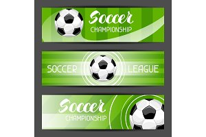 Soccer stylized banners with ball football symbol. Sports illustration