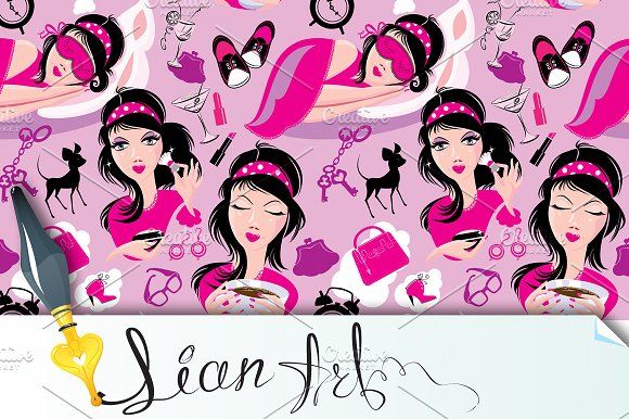 Seamless pattern with glamor girl