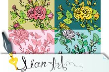 Set of Floral seamless backgrounds