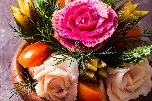 Carved vegetables for men